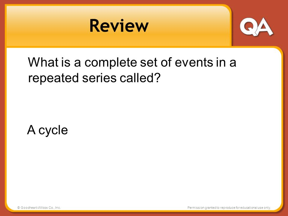 Review What is a complete set of events in a repeated series called