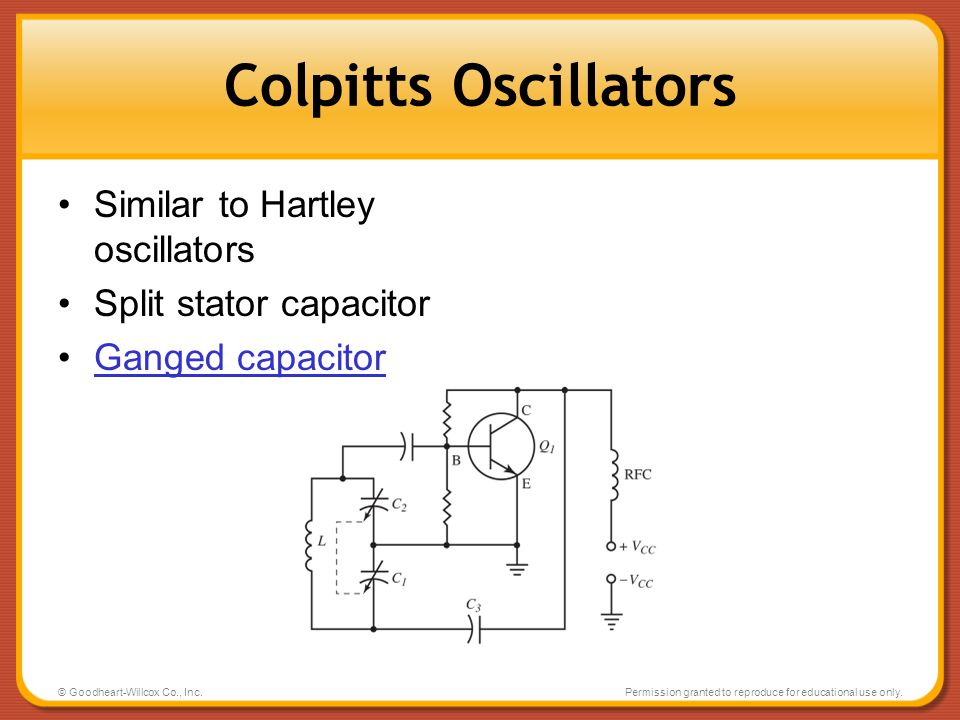Colpitts Oscillators Similar to Hartley oscillators