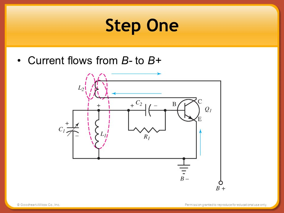 Step One Current flows from B- to B+ © Goodheart-Willcox Co., Inc.