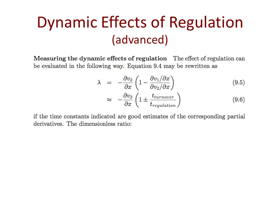 Dynamic Effects of Regulation