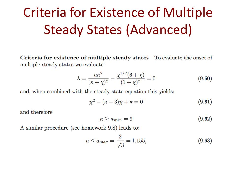 Criteria for Existence of Multiple Steady States (Advanced)
