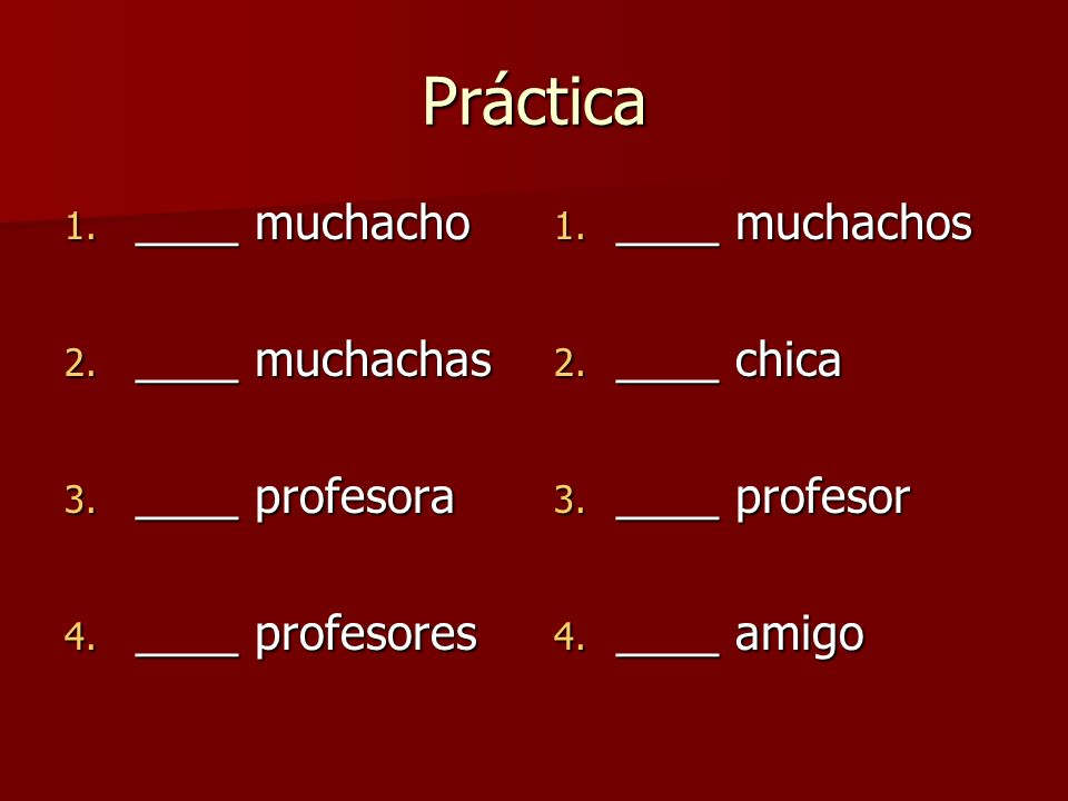 Práctica ____ muchacho ____ muchachas ____ profesora ____ profesores