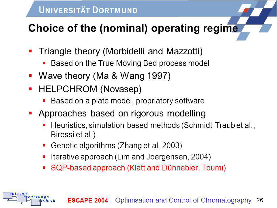 Choice of the (nominal) operating regime