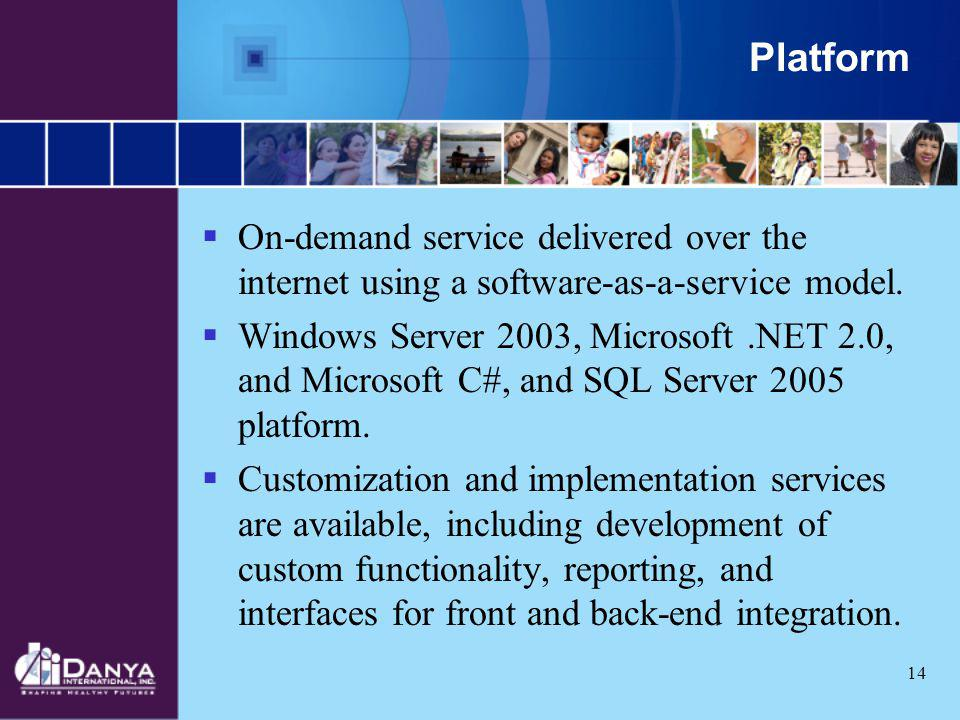 Platform On-demand service delivered over the internet using a software-as-a-service model.