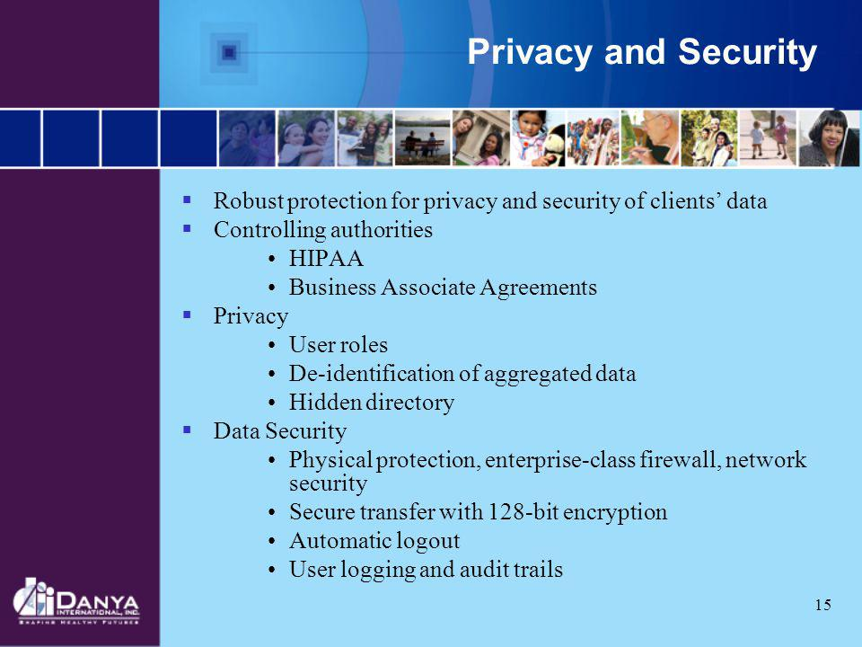 Privacy and Security Robust protection for privacy and security of clients' data. Controlling authorities.