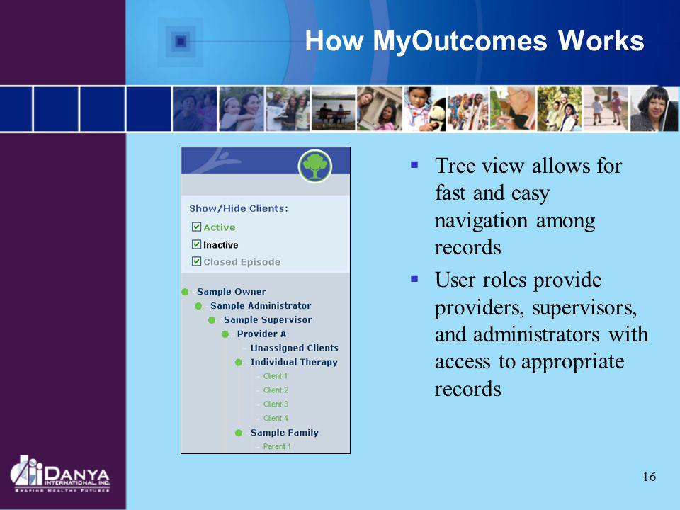 How MyOutcomes Works Tree view allows for fast and easy navigation among records.