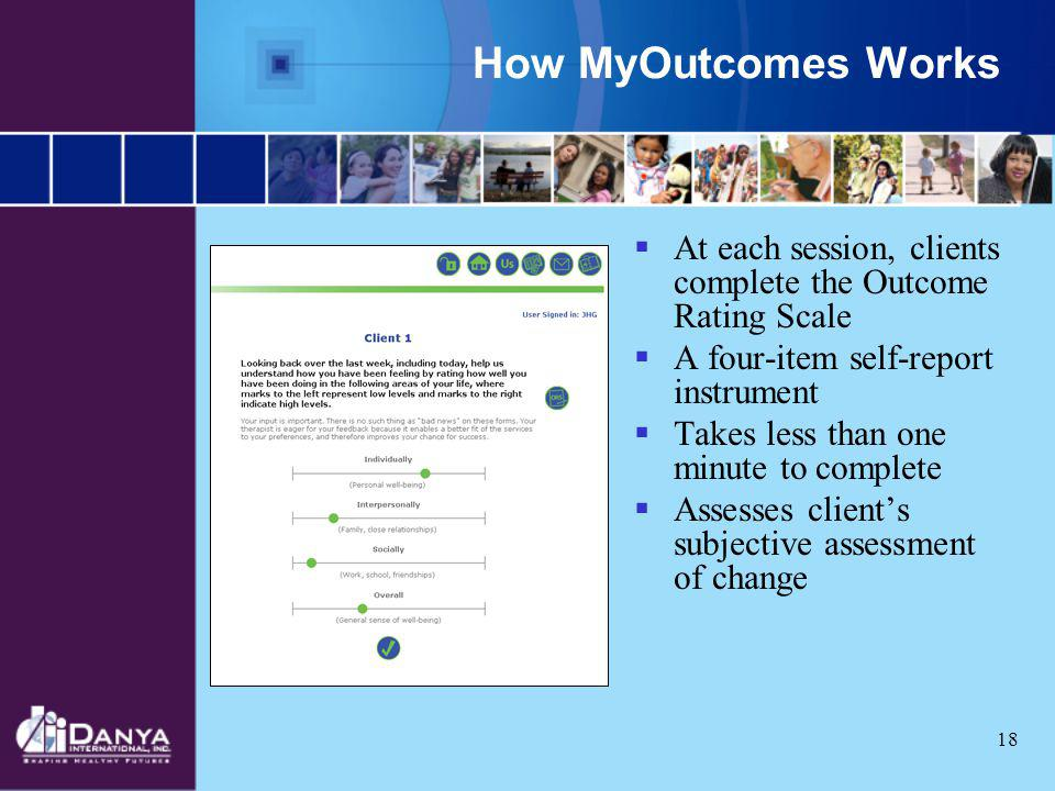 How MyOutcomes Works At each session, clients complete the Outcome Rating Scale. A four-item self-report instrument.