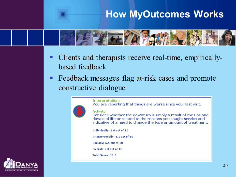 How MyOutcomes Works Clients and therapists receive real-time, empirically-based feedback.