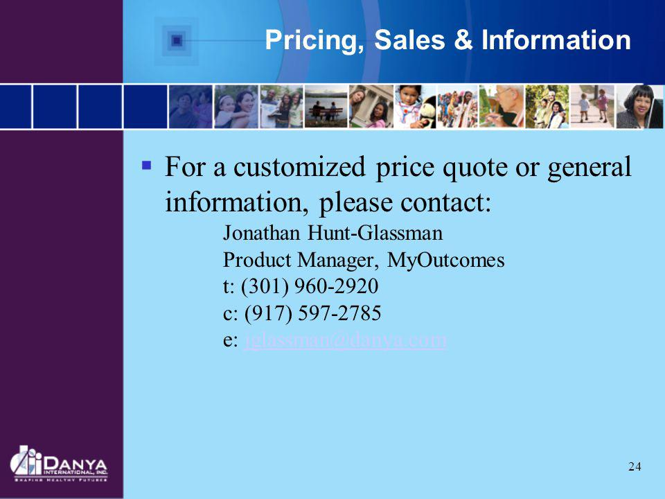 Pricing, Sales & Information
