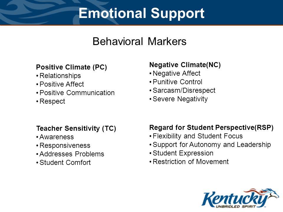 Emotional Support Behavioral Markers Negative Climate(NC)