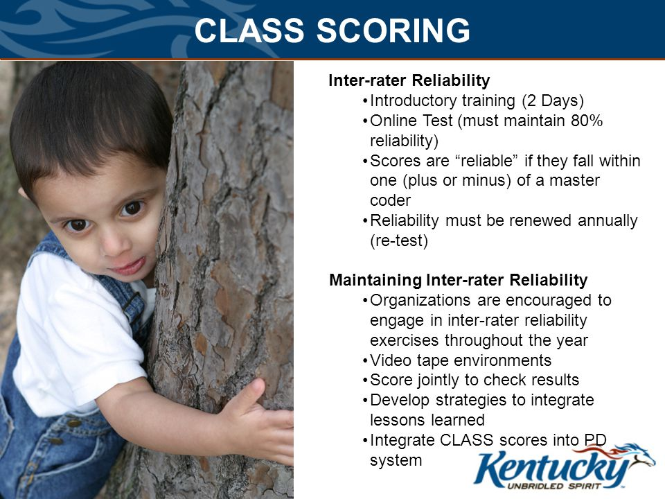 CLASS SCORING Inter-rater Reliability Introductory training (2 Days)