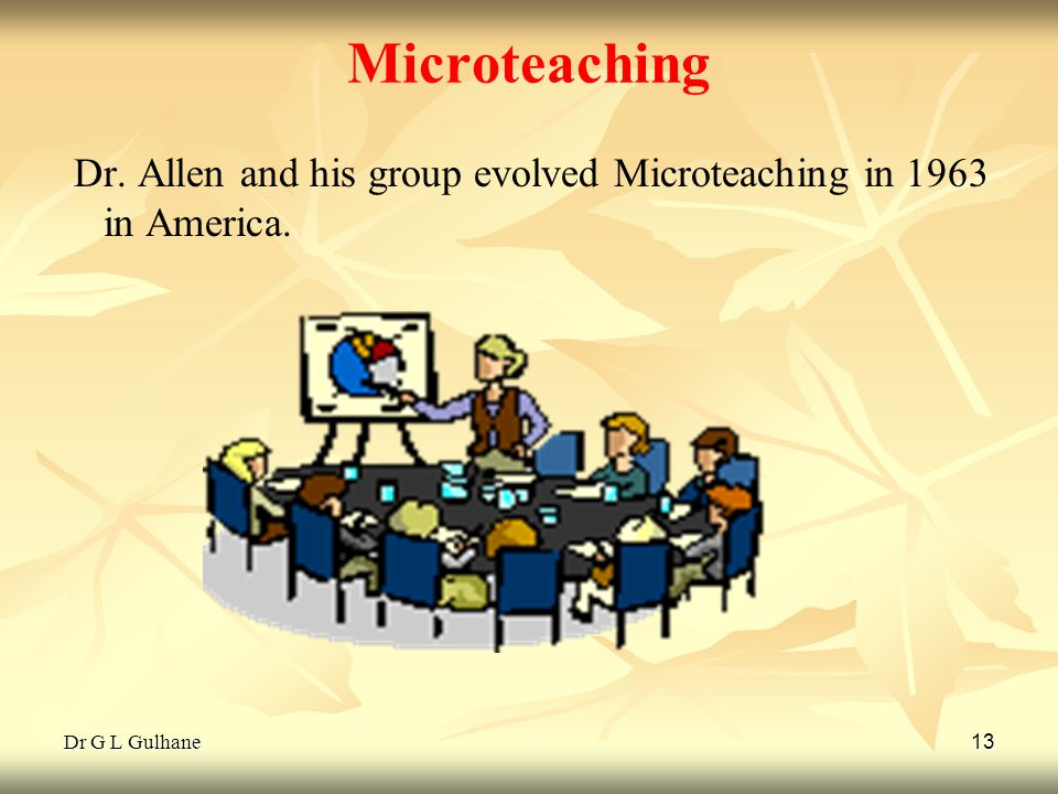Microteaching Dr. Allen and his group evolved Microteaching in 1963 in America. Dr G L Gulhane