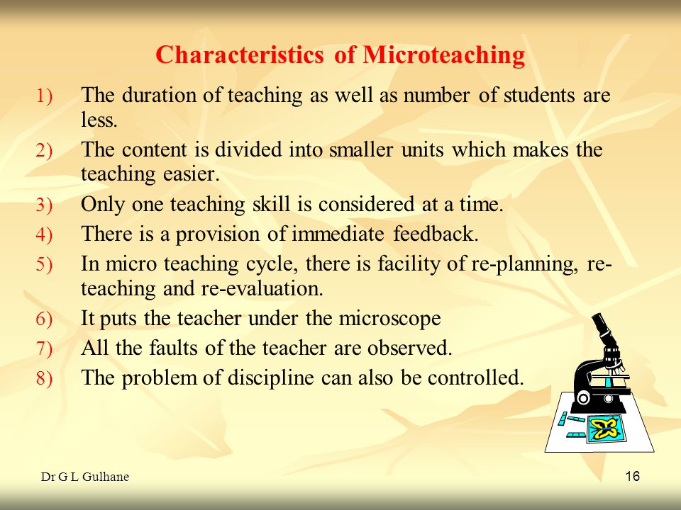 Characteristics of Microteaching