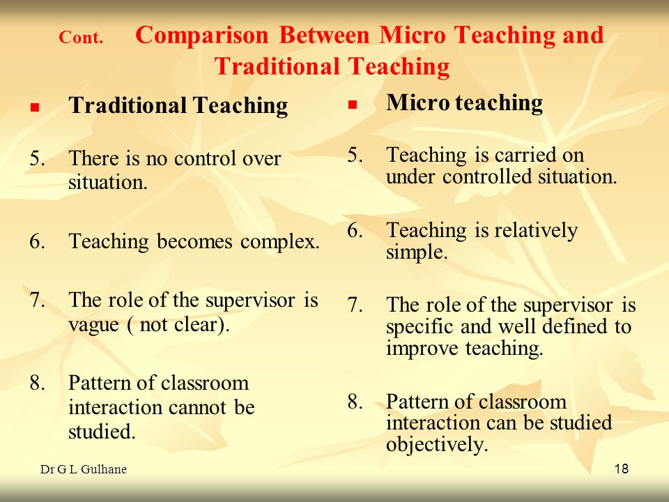 Cont. Comparison Between Micro Teaching and Traditional Teaching