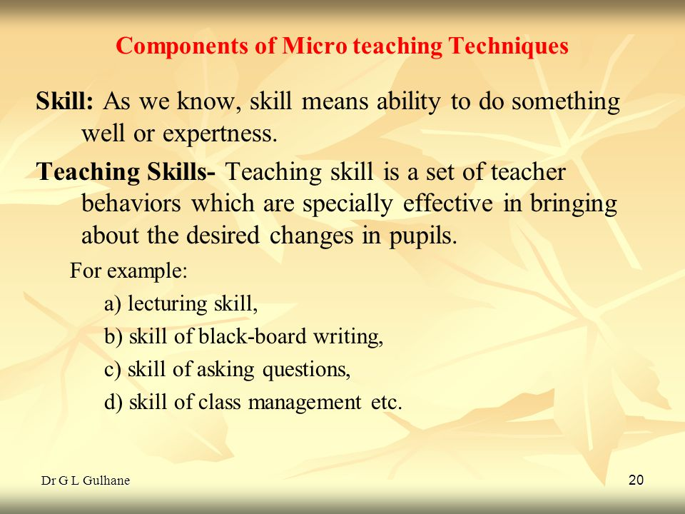 Components of Micro teaching Techniques