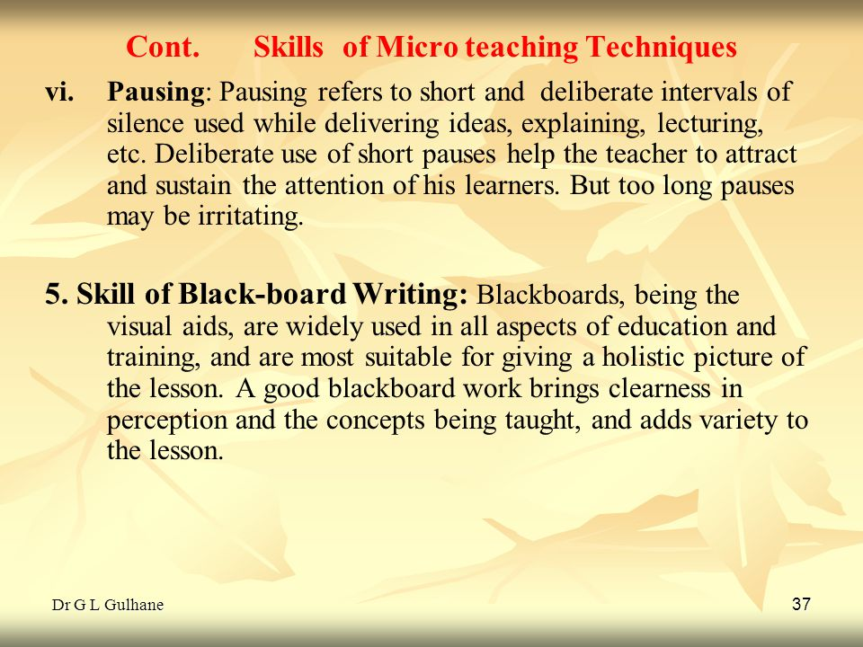 Cont. Skills of Micro teaching Techniques