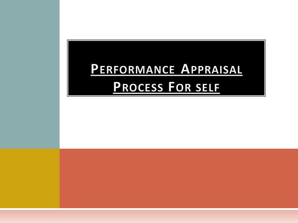 Performance Appraisal Process For self