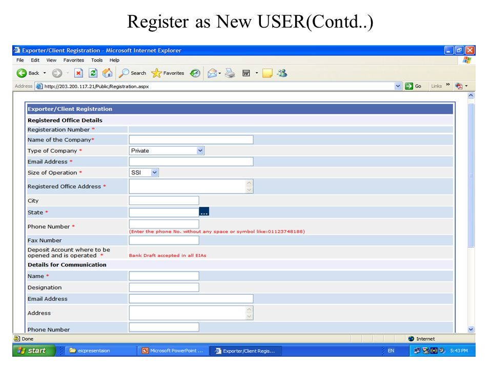 Register as New USER(Contd..)