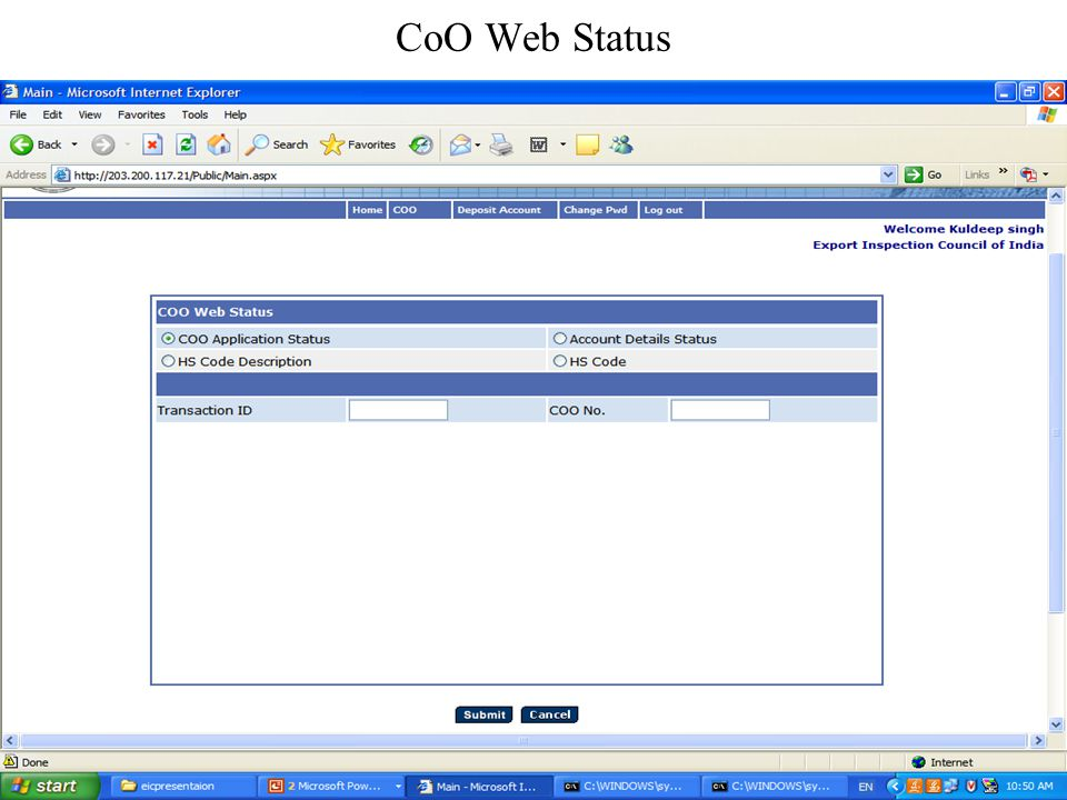 CoO Web Status