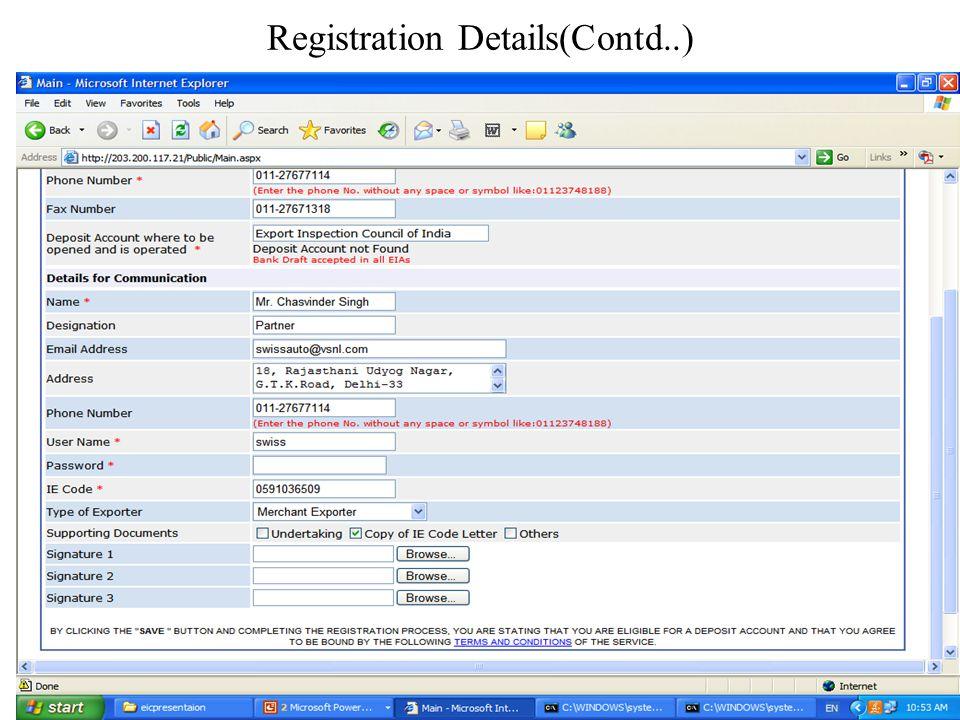 Registration Details(Contd..)