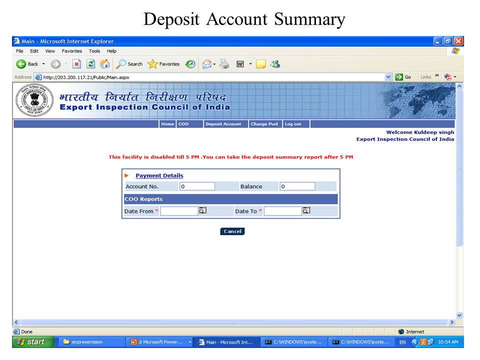 Deposit Account Summary