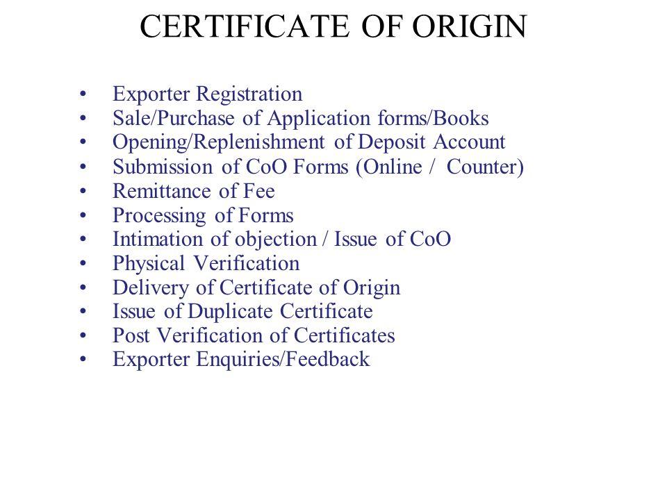 CERTIFICATE OF ORIGIN Exporter Registration