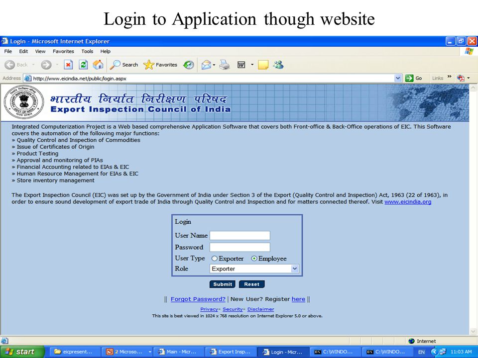 Login to Application though website
