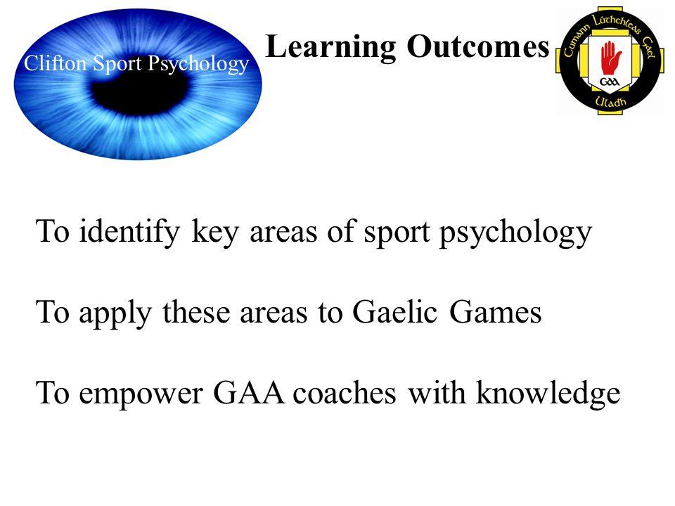 To identify key areas of sport psychology
