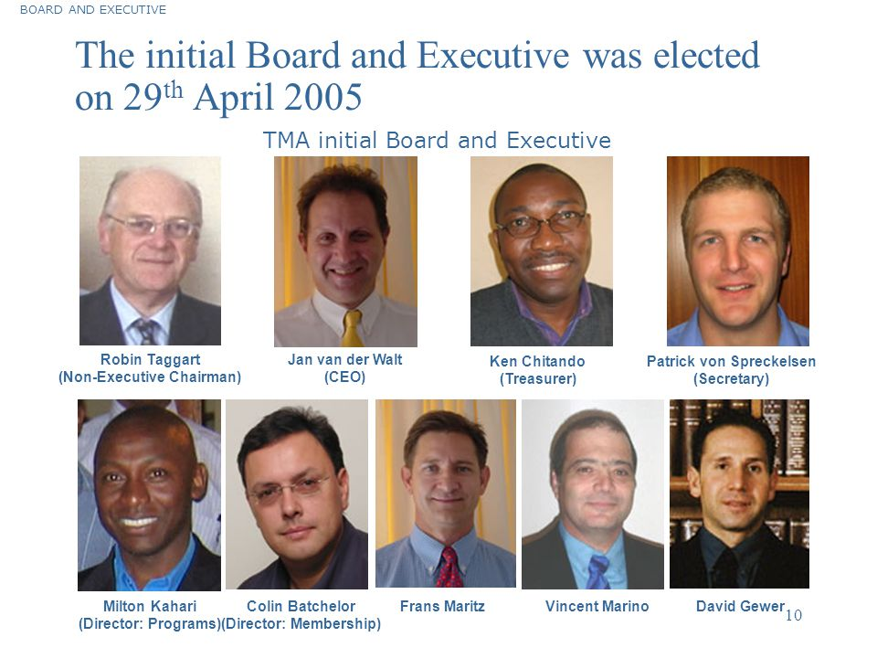 The initial Board and Executive was elected on 29th April 2005