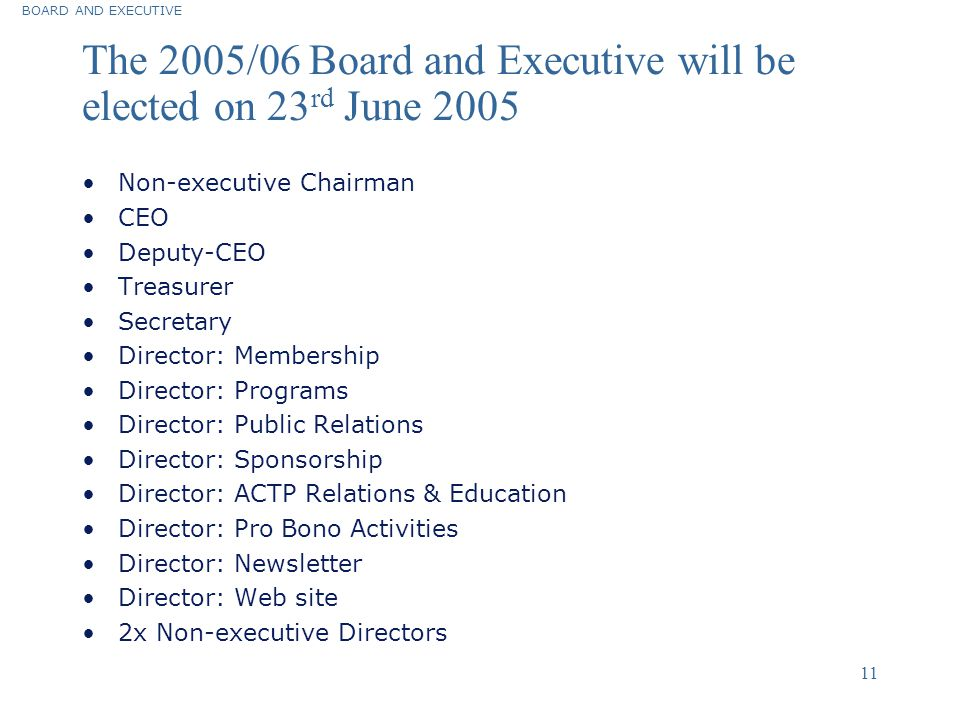 The 2005/06 Board and Executive will be elected on 23rd June 2005