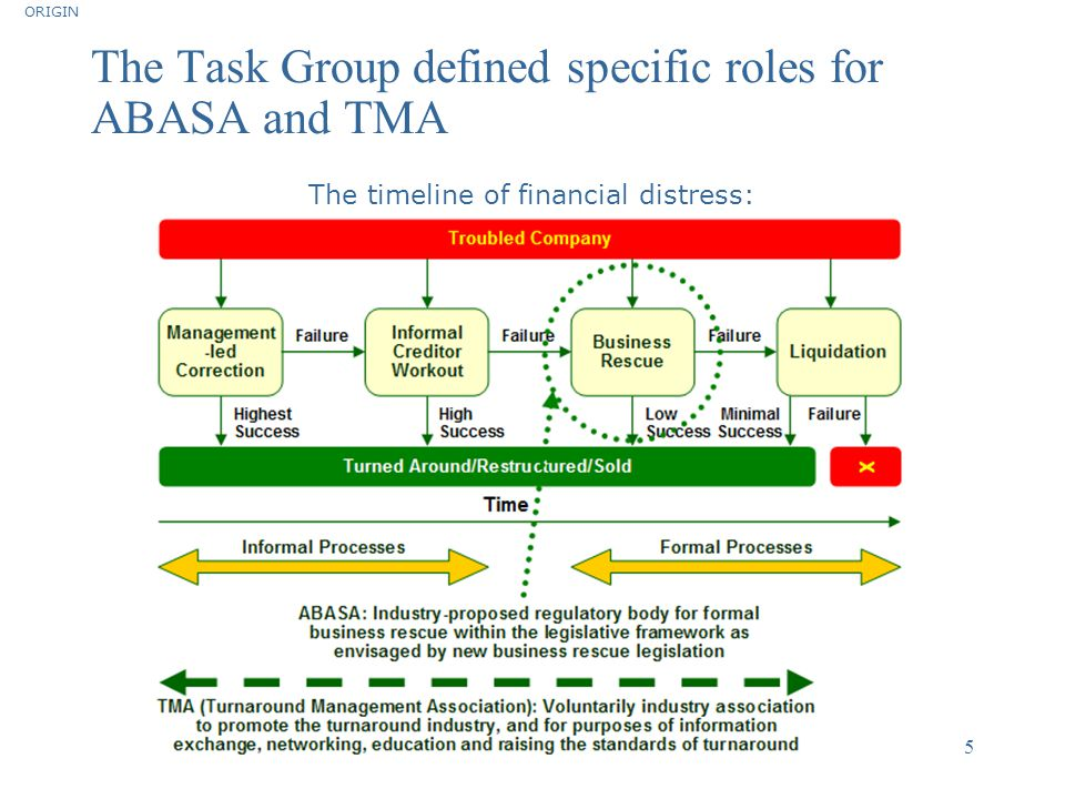 The Task Group defined specific roles for ABASA and TMA