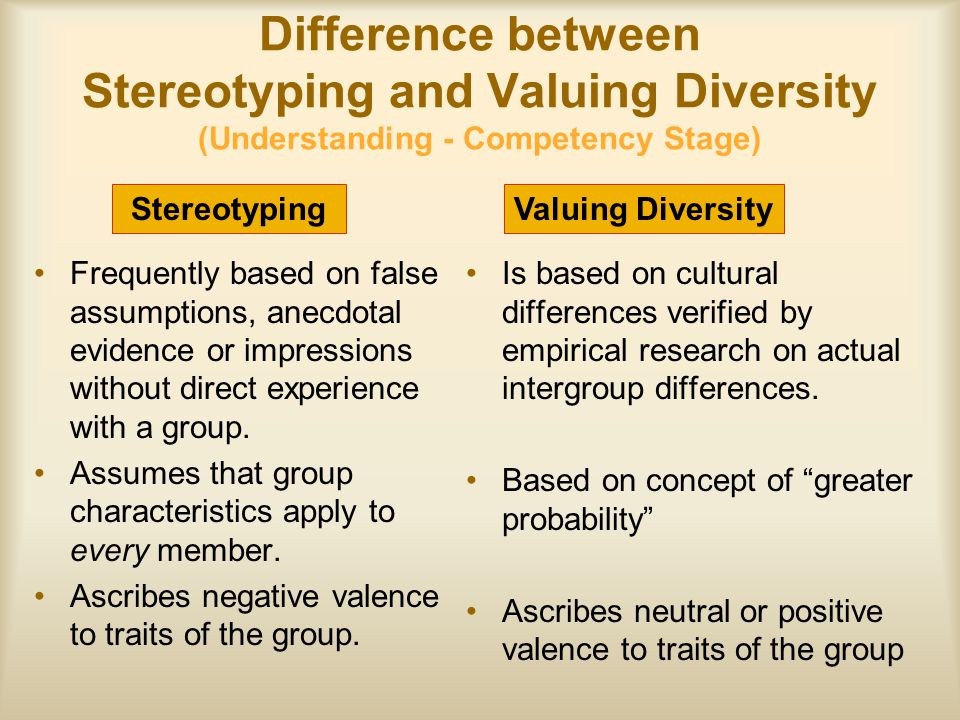 Difference between Stereotyping and Valuing Diversity (Understanding - Competency Stage)