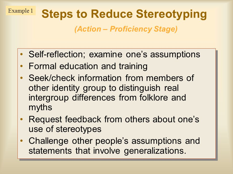 Steps to Reduce Stereotyping (Action – Proficiency Stage)