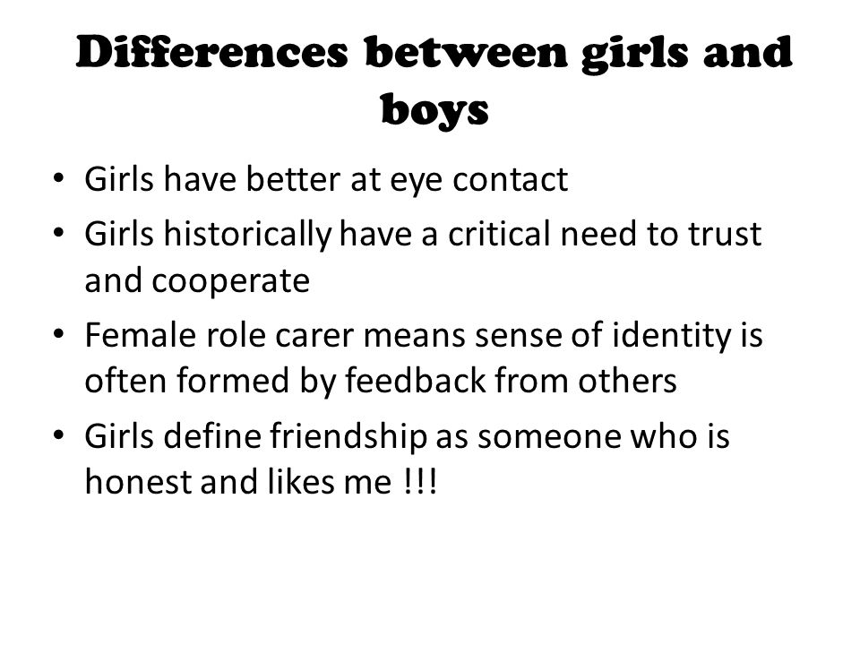 Differences between girls and boys