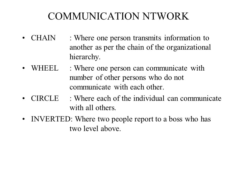 COMMUNICATION NTWORK CHAIN : Where one person transmits information to another as per the chain of the organizational hierarchy.