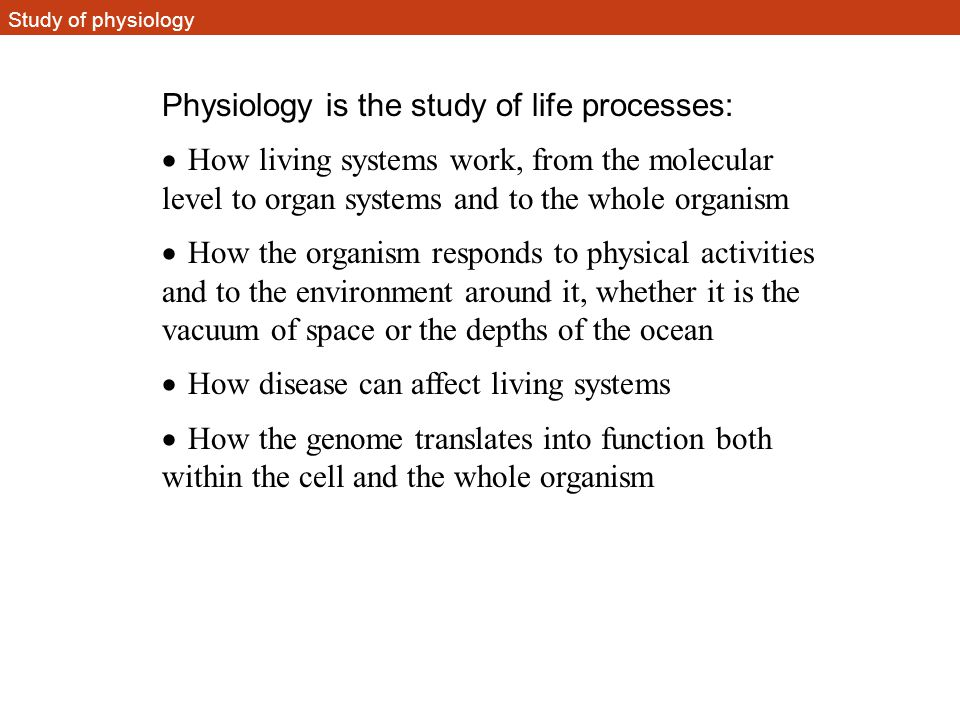 Physiology is the study of life processes: