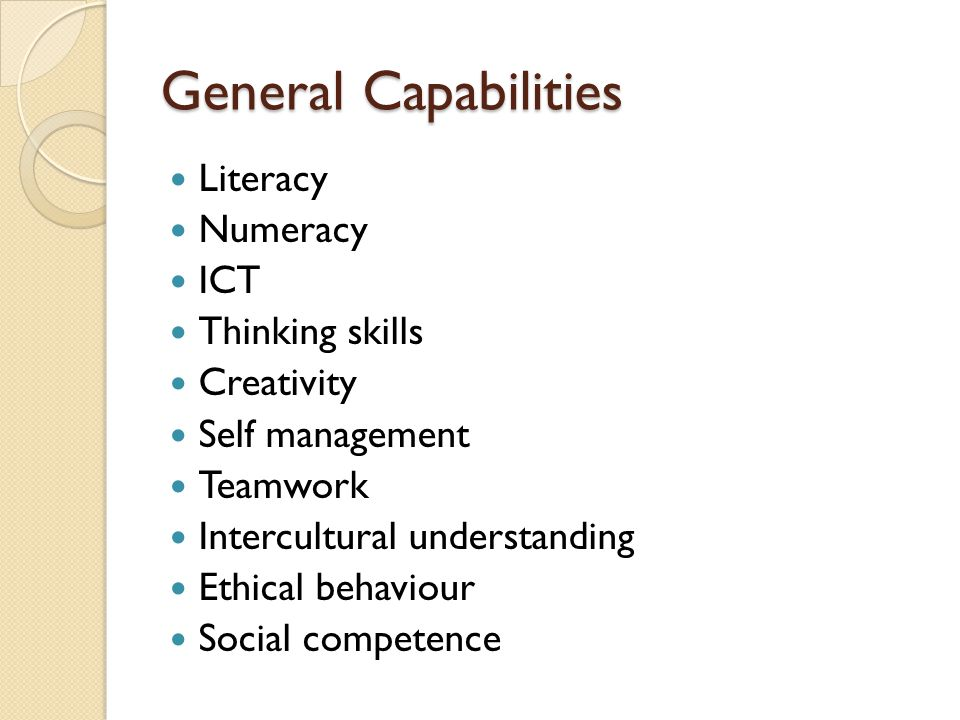 General Capabilities Literacy Numeracy ICT Thinking skills Creativity