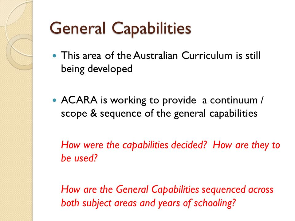 General Capabilities This area of the Australian Curriculum is still being developed.