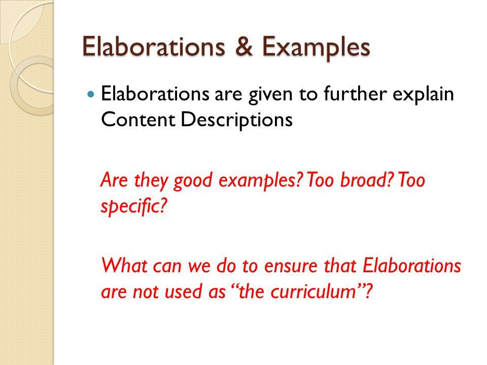 Elaborations & Examples
