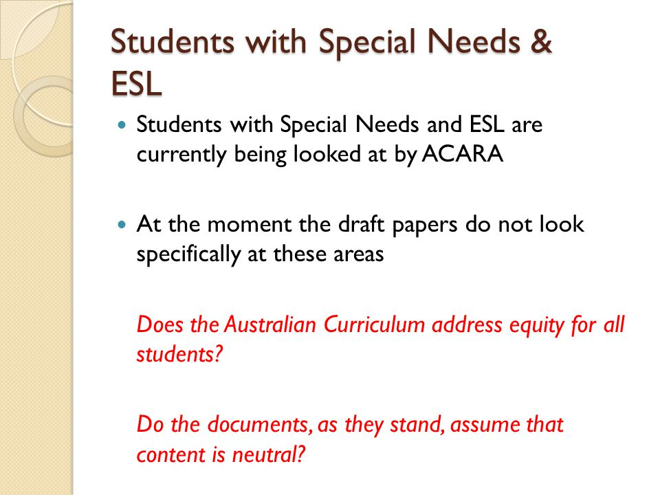 Students with Special Needs & ESL
