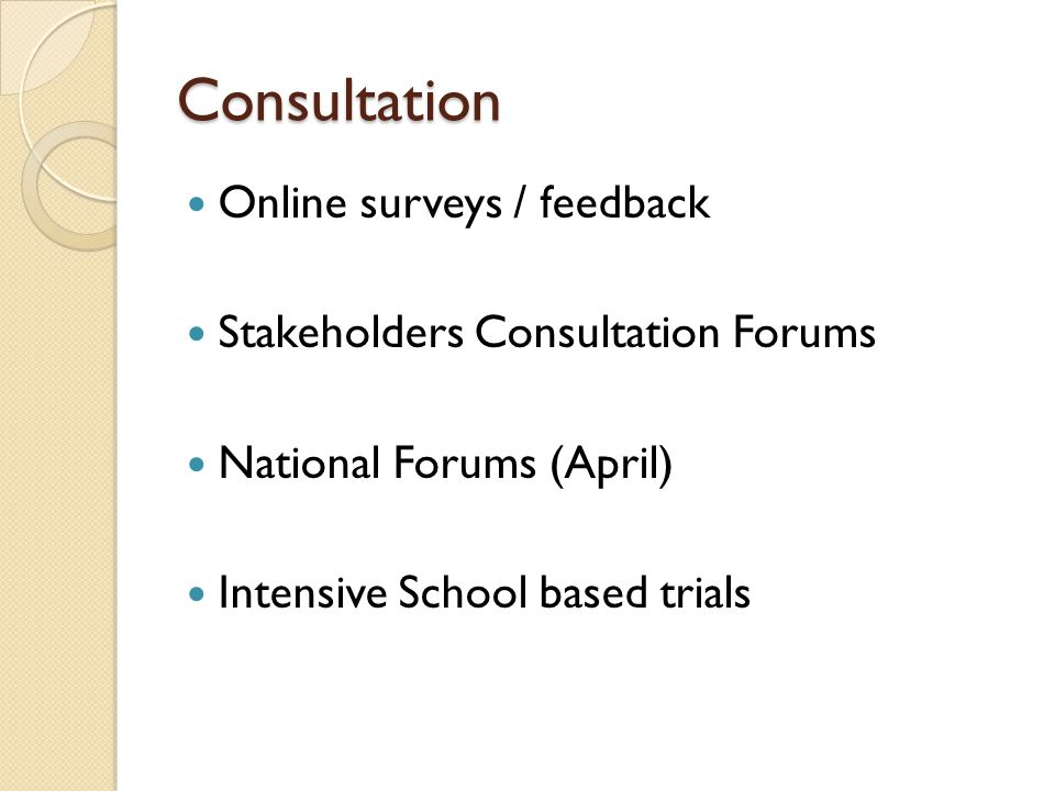 Consultation Online surveys / feedback