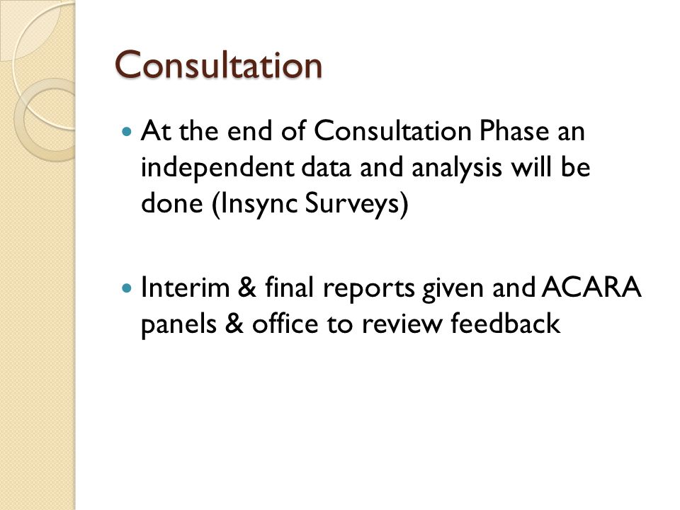 Consultation At the end of Consultation Phase an independent data and analysis will be done (Insync Surveys)