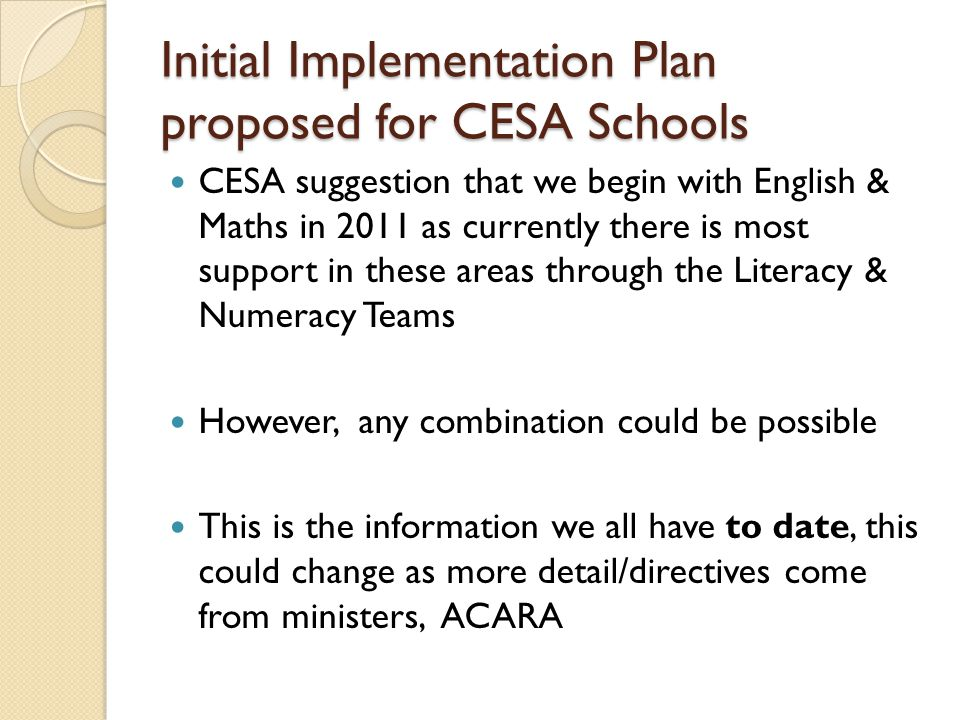 Initial Implementation Plan proposed for CESA Schools