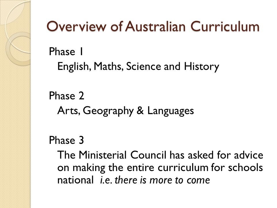Overview of Australian Curriculum