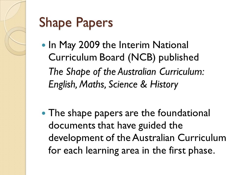 Shape Papers In May 2009 the Interim National Curriculum Board (NCB) published.