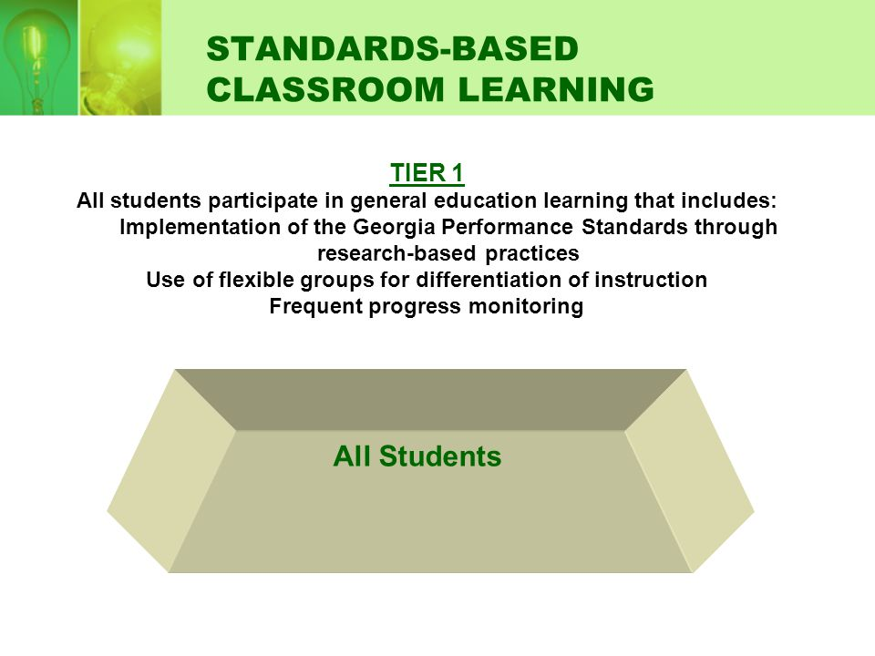 STANDARDS-BASED CLASSROOM LEARNING