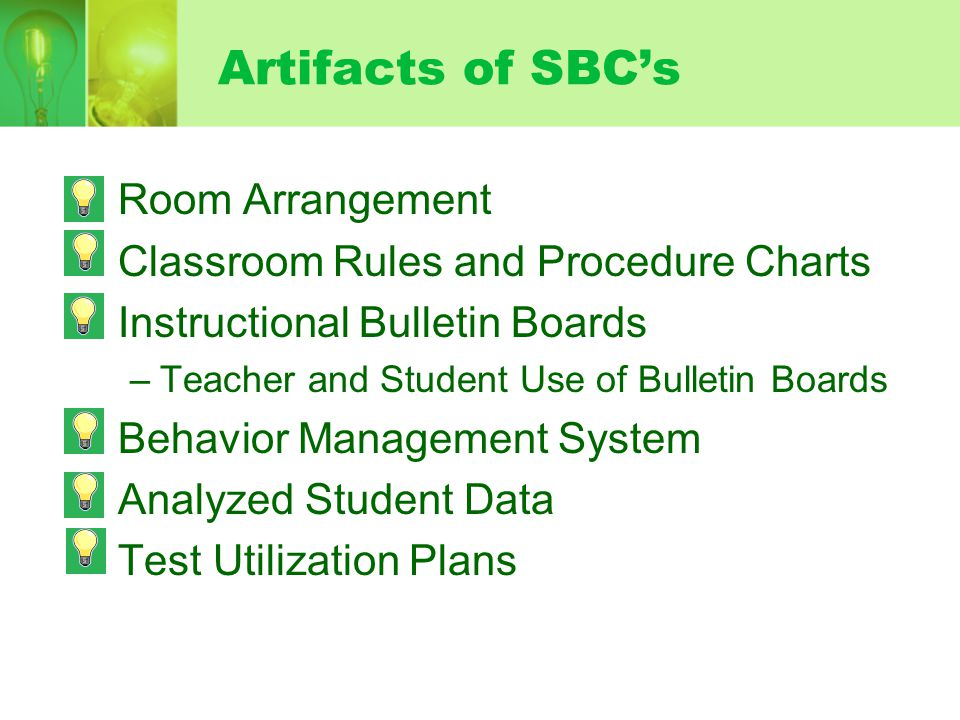 Artifacts of SBC's Room Arrangement