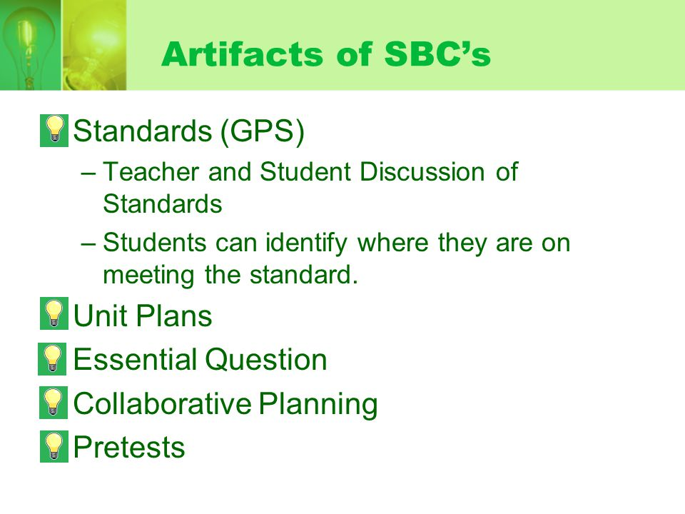 Artifacts of SBC's Standards (GPS) Unit Plans Essential Question