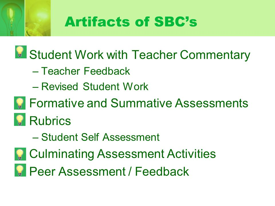 Artifacts of SBC's Student Work with Teacher Commentary