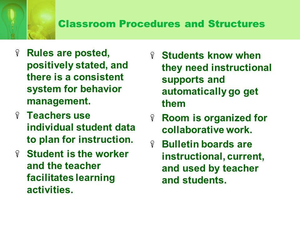 Classroom Procedures and Structures